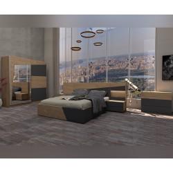 Спален комплект Тоскана 2 - Рокфорд хикори натурал/Графит - с LED осветление