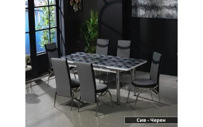 Комплект трапезна маса с 6 бр. столове Маги Сив/Черен