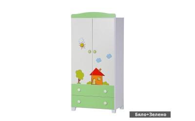 """Двукрилен гардероб Ливио - Бял/Зелен с апликация """"Къща"""""""