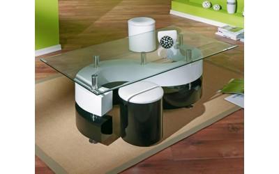 Холна маса SERENA H60 с табуретки - бял/черен