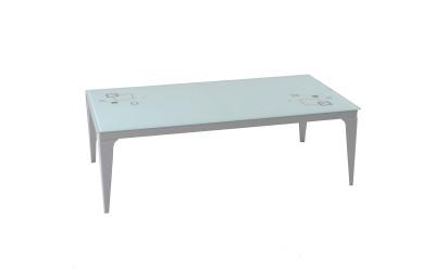 Холна маса TINA с принт стъкло - бяла