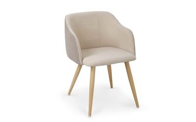 Трапезен стол К288 с подлакътници - бежово/светло сив