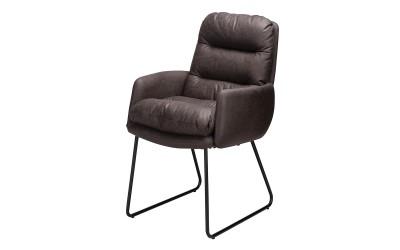 Трапезен стол К307 с подлакътници - тъмно кафяв