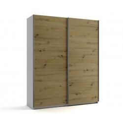 Малък гардероб с две плъзгащи врати МОД 5 - Артизан светъл - 180 см.