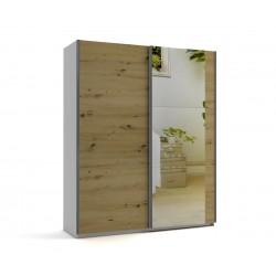Малък гардероб с две плъзгащи врати и огледало МОД 6 - Артизан светъл - 180 см.