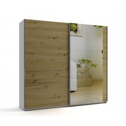 Среден гардероб с две плъзгащи врати и огледало МОД 8 - Артизан светъл - 240 см.
