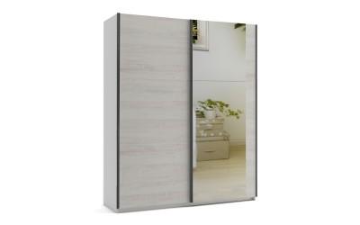 Малък гардероб с две плъзгащи врати и огледало МОД 6 - Бор Касина - 180 см.