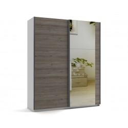 Малък гардероб с две плъзгащи врати и огледало МОД 6 - Дъб Давос Трюфел - 180 см.