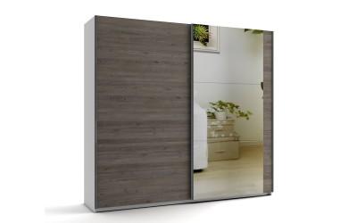 Среден гардероб с две плъзгащи врати и огледало МОД 8 - Дъб Давос Трюфел - 240 см.