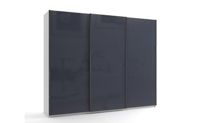 Голям гардероб с три плъзгащи врати МОД 9 - МДФ Антрацит гланц - 270 см.