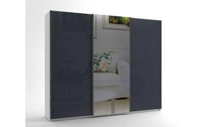 Голям гардероб с три плъзгащи врати и огледало МОД 10 - МДФ Антрацит гланц - 270 см.