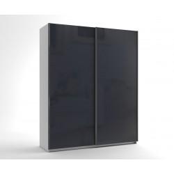 Малък гардероб с две плъзгащи врати МОД 5 - МДФ Антрацит гланц - 180 см.
