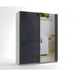 Малък гардероб с две плъзгащи врати и огледало МОД 6 - МДФ Антрацит гланц - 180 см.