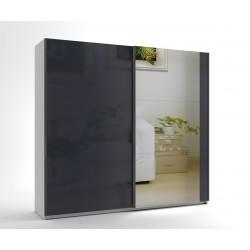 Среден гардероб с две плъзгащи врати и огледало МОД 8 - МДФ Антрацит гланц - 240 см.