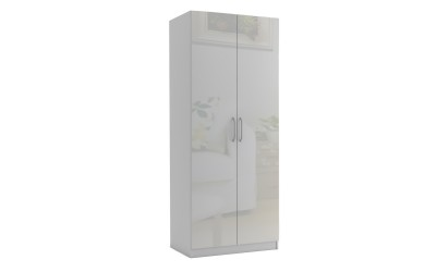 Двукрилен гардероб МОД 2 - МДФ Бял гланц - 90 см.