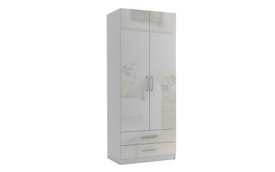 Двукрилен гардероб с две чекмеджета МОД 3 - МДФ Бял гланц - 90 см.
