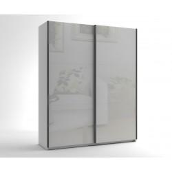 Малък гардероб с две плъзгащи врати МОД 5 - МДФ Бял гланц - 180 см.