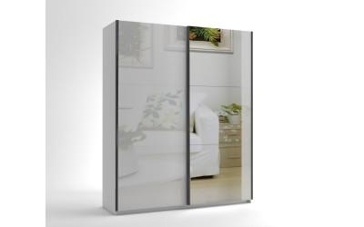 Малък гардероб с две плъзгащи врати и огледало МОД 6 - МДФ Бял гланц - 180 см.