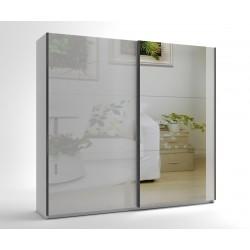 Среден гардероб с две плъзгащи врати и огледало МОД 8 - МДФ Бял гланц - 240 см.