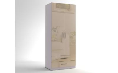 Двукрилен гардероб с две чекмеджета МОД 3 - МДФ Крем гланц - 90 см.