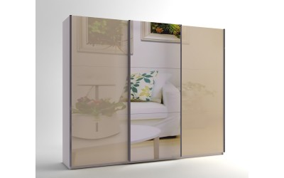 Голям гардероб с три плъзгащи врати и огледало МОД 10 - МДФ Крем гланц - 270 см.
