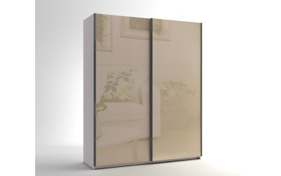 Малък гардероб с две плъзгащи врати МОД 5 - МДФ Крем гланц - 180 см.