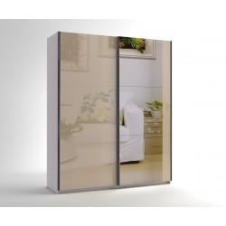 Малък гардероб с две плъзгащи врати и огледало МОД 6 - МДФ Крем гланц - 180 см.
