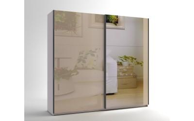 Среден гардероб с две плъзгащи врати и огледало МОД 8 - МДФ Крем гланц - 240 см.