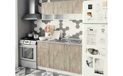 Готова кухня Саня с цял термоплот - Дъб суров/Бяло - 120 см.