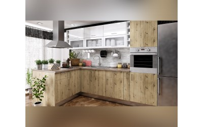 Ъглово кухненско обзавеждане Хит и Елит 13 - с цял термоплот