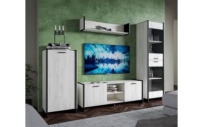 Секция МИРА - Дъб крафт бял/Черно - 240 см.