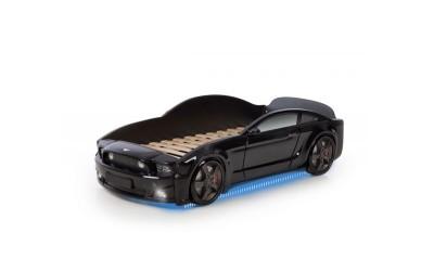 Легло - кола модел МУСТАНГ LIGHT 3D - черна - с дънно осветление и светещи фарове