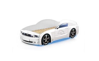 Легло - кола модел МУСТАНГ LIGHT PLUS - бяла - със светещи фарове