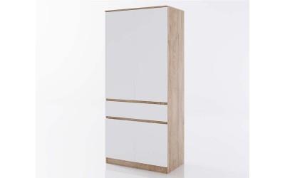 Двукрилен гардероб Класик 932 - Дъб суров/Бяло гладко