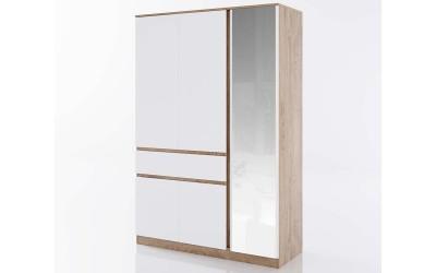 Трикрилен гардероб с огледало Класик 933 - Дъб суров/Бяло гладко