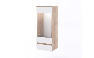 Шкаф с Витрина Класик 912 - с LED осветление - Дъб суров/Бяло гладко