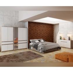 Спален комплект Класик К 963 - 2x 90/200 - Дъб суров/Бяло гладко