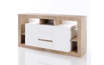 ТВ шкаф Класик 923 - Дъб суров/Бяло гладко - с LED осветление