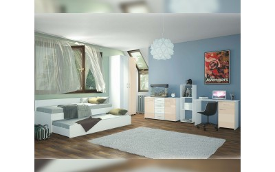 Детска стая Санди - крем гланц/бяло гланц/бяло