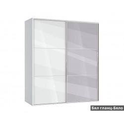 Гардероб Ава 41 с плъзгащи врати и огледало - корпус бяло
