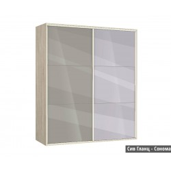 Гардероб Ава 41 с плъзгащи врати и огледало - сиво гланц/сонома
