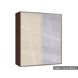 Гардероб Ава 41 с плъзгащи врати и огледало - крем гланц/венге