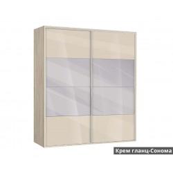 Гардероб Ава 51 с плъзгащи врати и огледала - крем гланц/сонома