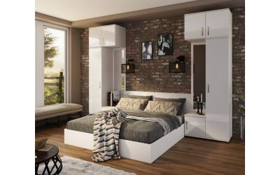 Спален комплект Ава 10 - бяло гланц/бяло