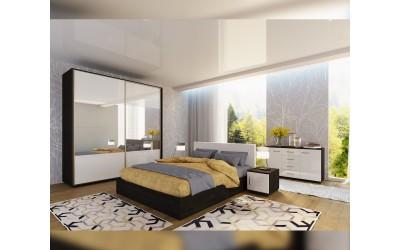 Спален комплект Ава 6 - бяло гланц/венге