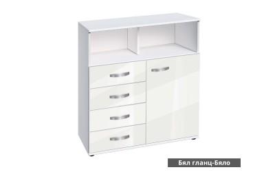 Скрин Ава 14/1000 с врата и чекмеджета - корпус бяло