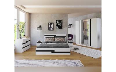 Спален комплект Алексия - 160/200 - Бяло гладко/Черно шагре
