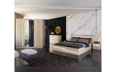 Спален комплект Алексия - 160/200 - Тъмна сонома/Бяло гладко