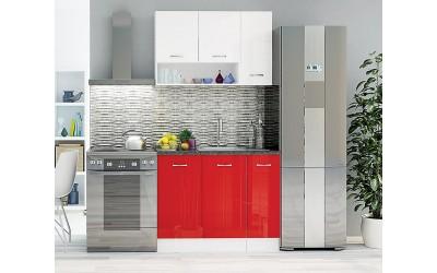 Кухненски комплект Алис 1 - Червено / Бяло гланц