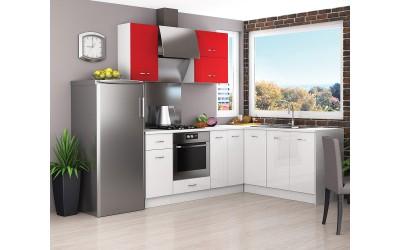 Ъглов кухненски комплект Алис 18 - Бяло / Червено гланц
